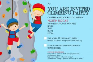 Image for the Party Invitation - Canberra Indoor Rock Climbing - Mitchell