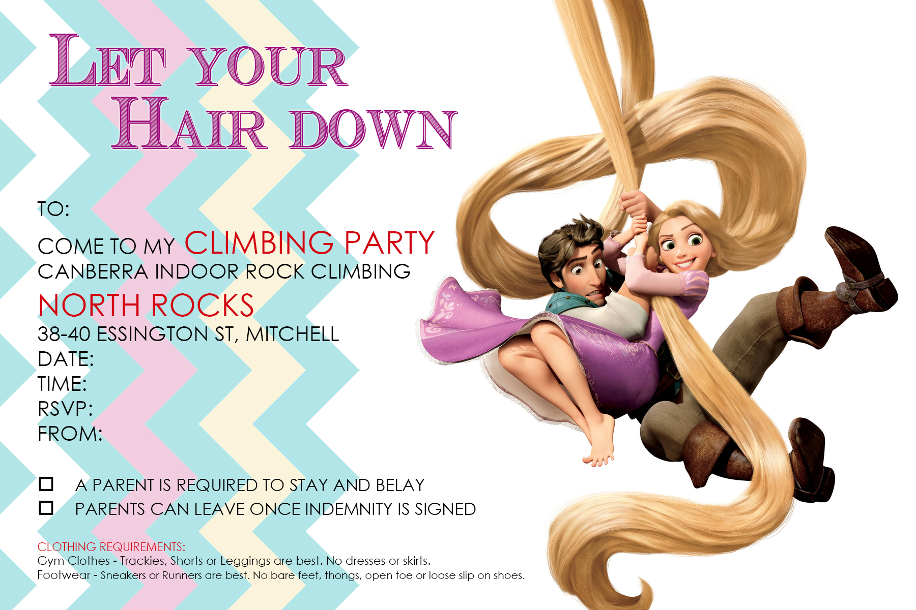 Party Invitations - Canberra Indoor Rock Climbing