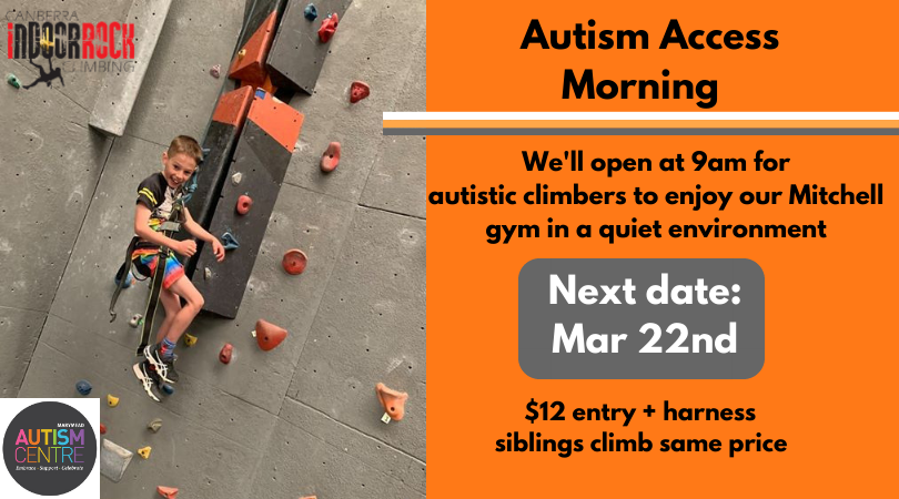 A photo of an autistic child being lowered down after climbing. They have a huge smile on their face. Image includes promotional information for the next event.