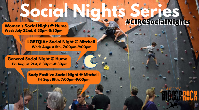A photo of a busy climbing gym with all of the information for the events listed on it.