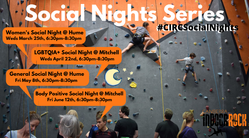 A photo of a crowded gym during a climbing competition with promotional information about the social nights series.